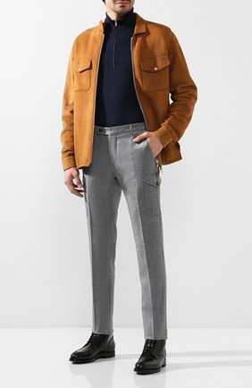 Мужской шерстяные брюки ANDREA CAMPAGNA серого цвета, арт. M0RELL018 CARG0/RD5470   Фото 2