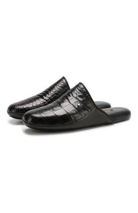 Мужского домашние туфли из кожи аллигатора ZILLI черного цвета, арт. ZD 366/0G10/AMIS | Фото 1