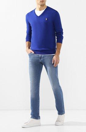Мужской хлопковый пуловер POLO RALPH LAUREN синего цвета, арт. 710744677 | Фото 2