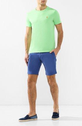 Мужская хлопковая футболка  POLO RALPH LAUREN салатового цвета, арт. 710671438 | Фото 2