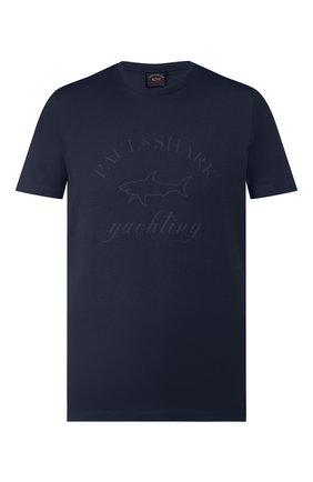 Мужская хлопковая футболка PAUL&SHARK темно-синего цвета, арт. C0P1007/C00 | Фото 1