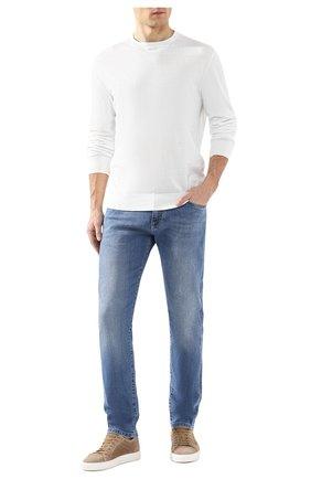 Мужской хлопковый джемпер ERMENEGILDO ZEGNA белого цвета, арт. USC90/110 | Фото 2