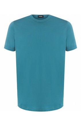 Хлопковая футболка  Diesel бирюзовая | Фото №1