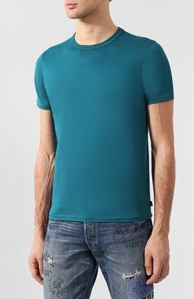 Хлопковая футболка  Diesel бирюзовая | Фото №3