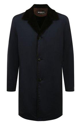 Пальто из смеси шерсти и шелка с внутренней меховой отделкой | Фото №1
