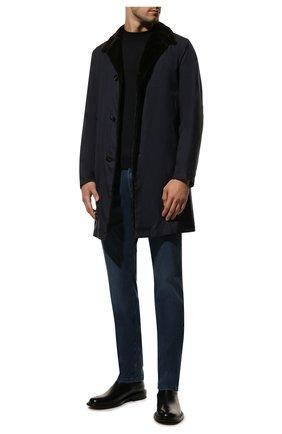 Мужской пальто из смеси шерсти и шелка с внутренней меховой отделкой KITON темно-синего цвета, арт. UW0481/3R68 | Фото 2