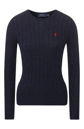 Женский хлопковый пуловер POLO RALPH LAUREN темно-синего цвета, арт. 211580009/0S191C09 | Фото 1 (Материал внешний: Хлопок; Длина (для топов): Стандартные; Рукава: Длинные; Статус проверки: Проверено; Женское Кросс-КТ: Пуловер-одежда)