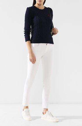 Женский хлопковый пуловер POLO RALPH LAUREN темно-синего цвета, арт. 211580009/0S191C09 | Фото 2 (Материал внешний: Хлопок; Длина (для топов): Стандартные; Рукава: Длинные; Статус проверки: Проверено; Женское Кросс-КТ: Пуловер-одежда)
