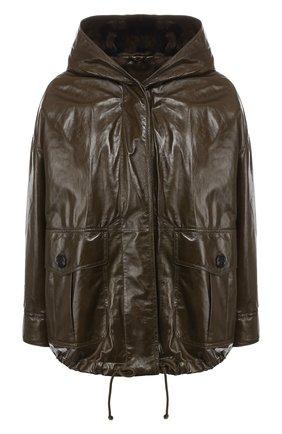 Кожаная куртка с капюшоном | Фото №1