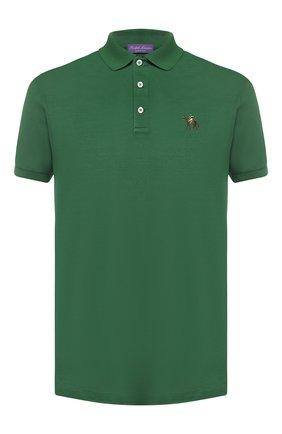 Мужское хлопковое поло RALPH LAUREN зеленого цвета, арт. 790508036   Фото 1