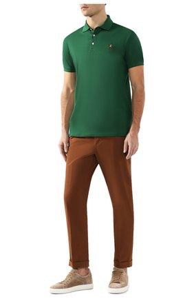 Мужское хлопковое поло RALPH LAUREN зеленого цвета, арт. 790508036   Фото 2
