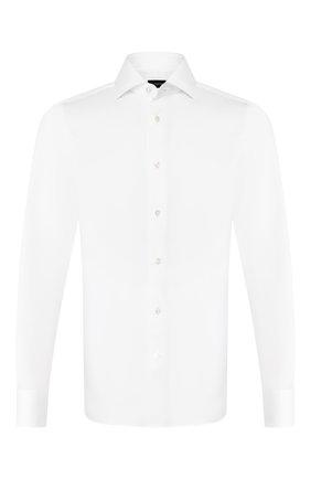 Мужская хлопковая сорочка с воротником кент ERMENEGILDO ZEGNA белого цвета, арт. 501222/9MS0BA | Фото 1