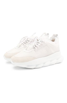 Мужские текстильные кроссовки chain reaction VERSACE белого цвета, арт. DSU7071E/D7CTG | Фото 1