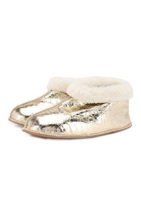 Домашние туфли из металлизированной кожи | Фото №1
