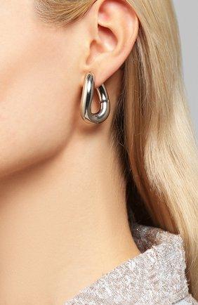 Женские серьги loop BALENCIAGA серебряного цвета, арт. 542508/TZ16S | Фото 2