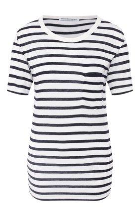 Женская футболка из смеси вискозы и льна ALEXANDERWANG.T синего цвета, арт. 4C991020A3 | Фото 1