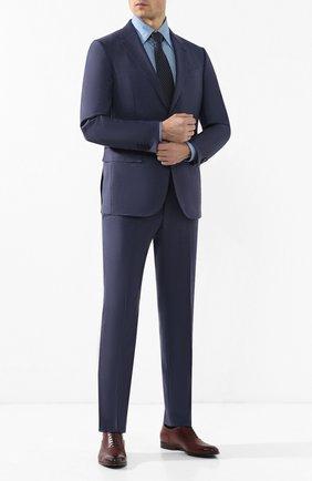 Мужская хлопковая сорочка с воротником кент ZILLI голубого цвета, арт. MFR-83100-MERCU/RZ01 | Фото 2