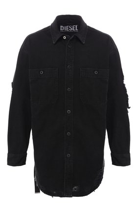 Хлопковая рубашка Diesel черная | Фото №1