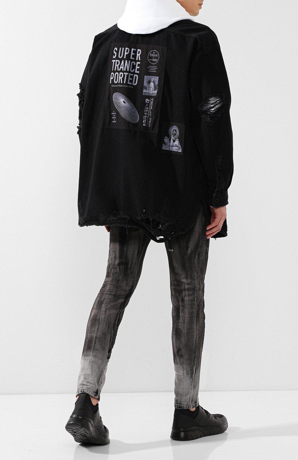 Хлопковая рубашка Diesel черная | Фото №2
