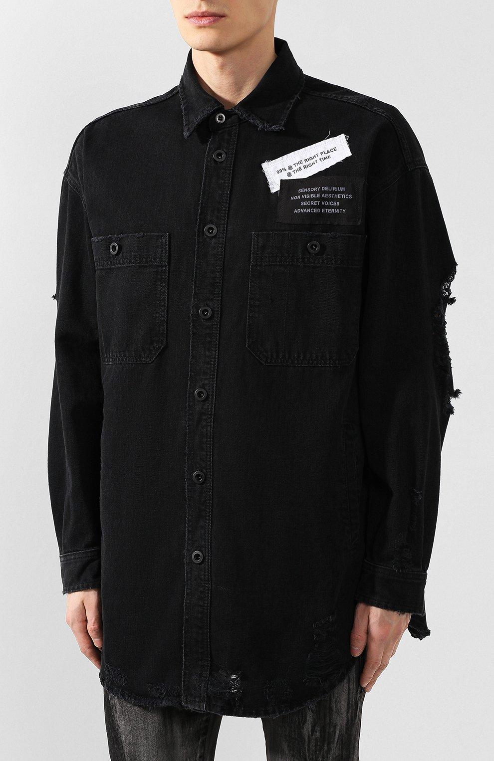Хлопковая рубашка Diesel черная | Фото №3