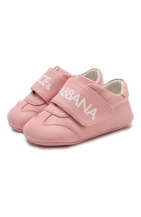 Детского кожаные кроссовки DOLCE & GABBANA розового цвета, арт. DK0104/AB793 | Фото 1