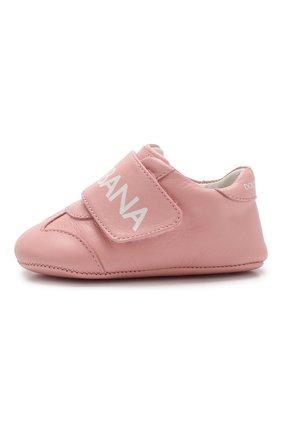 Детского кожаные кроссовки DOLCE & GABBANA розового цвета, арт. DK0104/AB793 | Фото 2