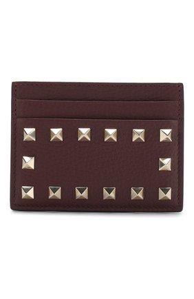 Женский кожаный футляр для кредитных карт valentino garavani rockstud VALENTINO бордового цвета, арт. RW2P0486/VSH | Фото 1