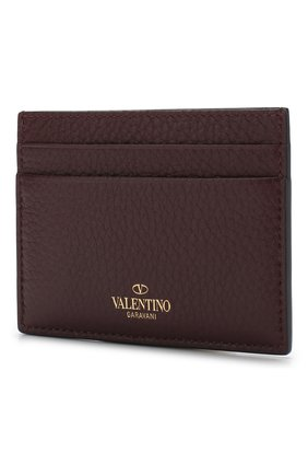 Женский кожаный футляр для кредитных карт valentino garavani rockstud VALENTINO бордового цвета, арт. RW2P0486/VSH | Фото 2