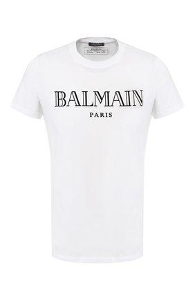Мужская хлопковая футболка BALMAIN белого цвета, арт. W8H8601/I259 | Фото 1