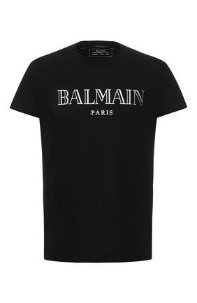 Мужская хлопковая футболка BALMAIN черного цвета, арт. W8H8601/I258   Фото 1