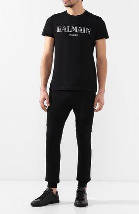 Мужская хлопковая футболка BALMAIN черного цвета, арт. W8H8601/I258 | Фото 2
