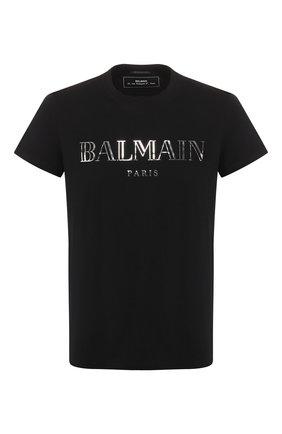 Мужская хлопковая футболка BALMAIN черного цвета, арт. RH11601/I055 | Фото 1