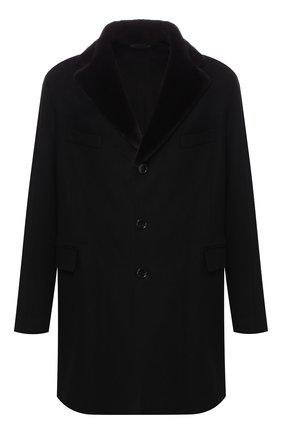 Кашемировое пальто с норковым воротником | Фото №1