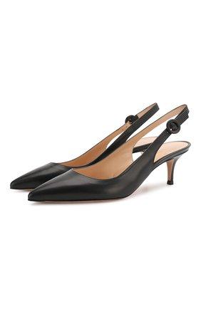 Женские кожаные туфли anna GIANVITO ROSSI черного цвета, арт. G93540.55RIC.VITNER0   Фото 1