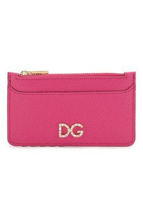 Женский кожаный футляр для кредитных карт DOLCE & GABBANA розового цвета, арт. BI1032/AZ503 | Фото 1