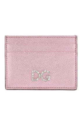 Женский кожаный футляр для кредитных карт DOLCE & GABBANA светло-розового цвета, арт. BI0330/AC184 | Фото 1