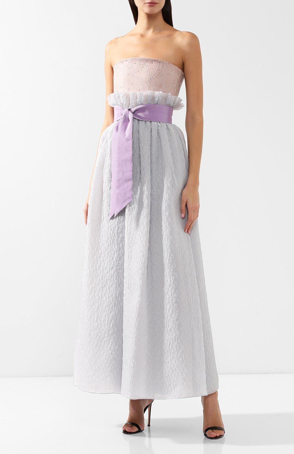 Шелковое платье-макси Giorgio Armani сиреневое | Фото №4