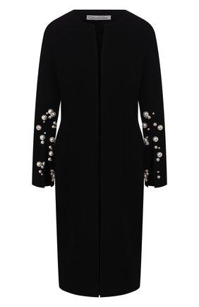 Шерстяное пальто с декоративной отделкой   Фото №1