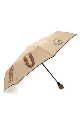 Складной зонт с принтом Moschino темно-бежевый   Фото №2