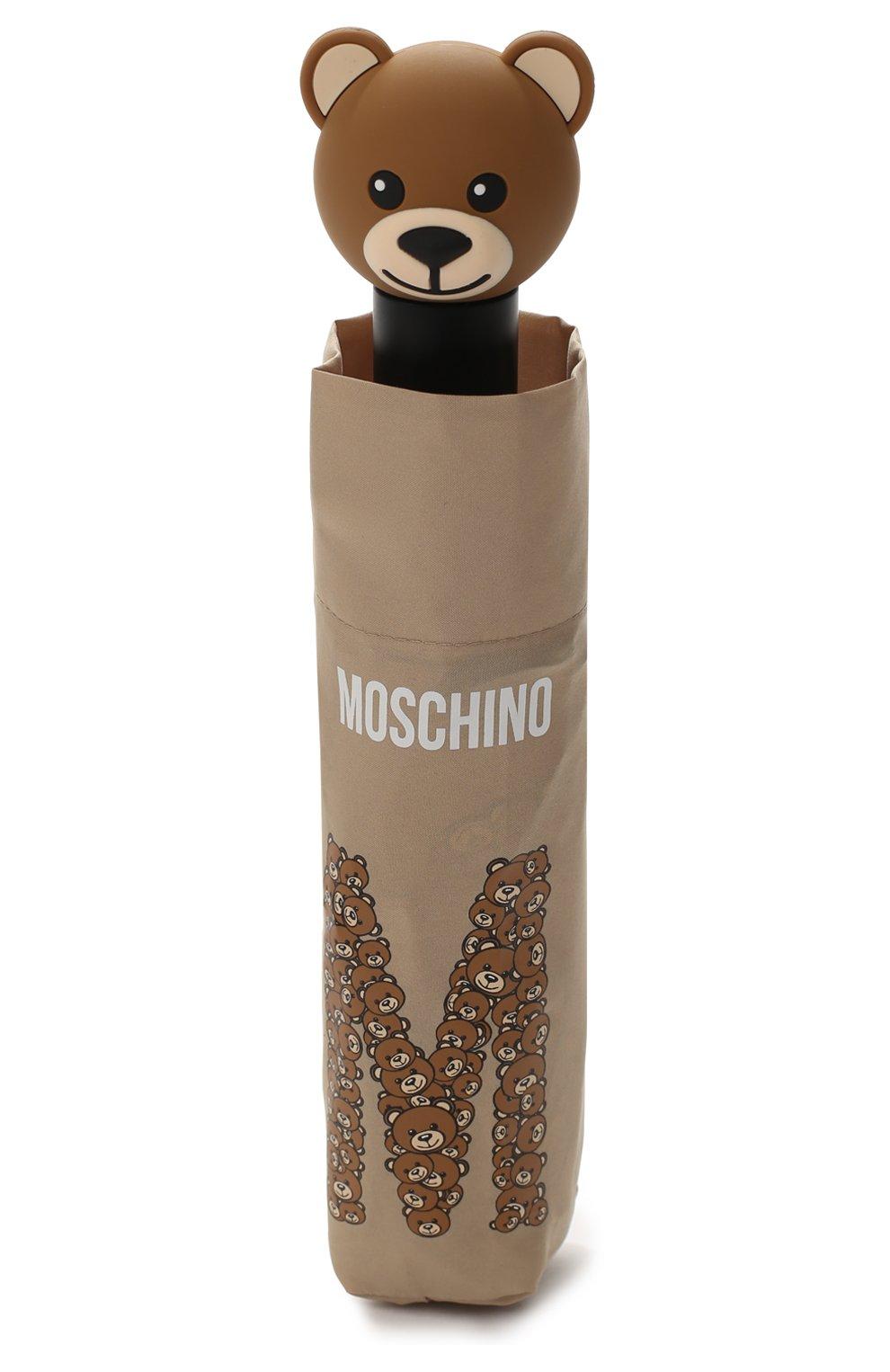 Складной зонт с принтом Moschino темно-бежевый   Фото №4