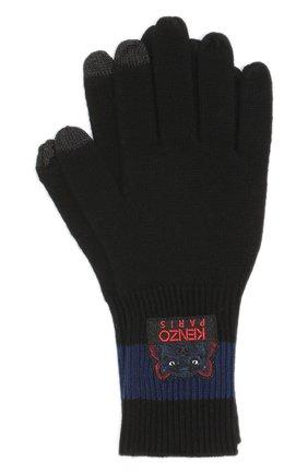 Шерстяные перчатки с нашивкой | Фото №1