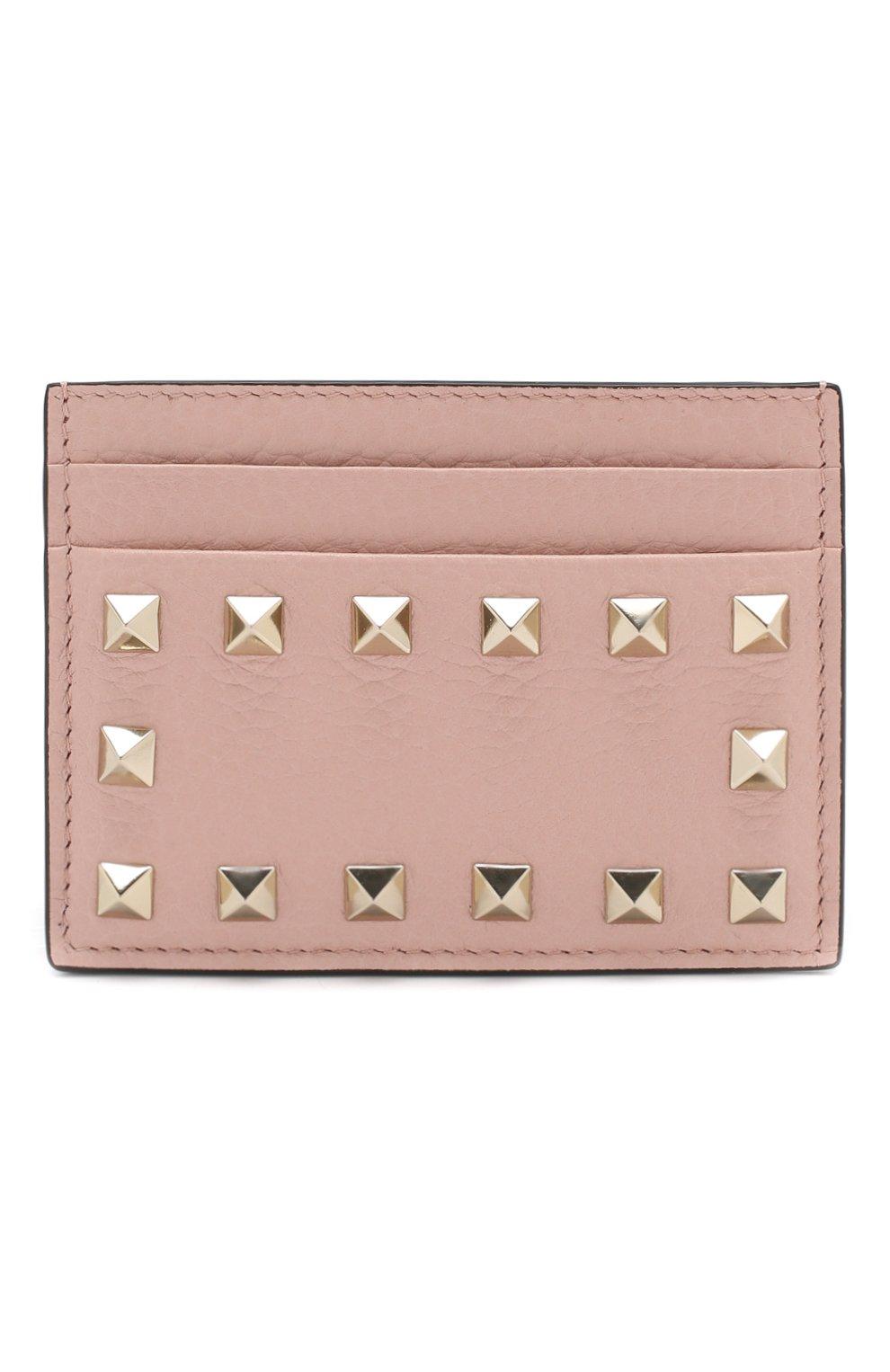 Кожаный футляр для кредитных карт Valentino Garavani Rockstud Valentino светло-розового цвета   Фото №1