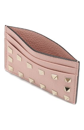 Кожаный футляр для кредитных карт Valentino Garavani Rockstud Valentino светло-розового цвета   Фото №3