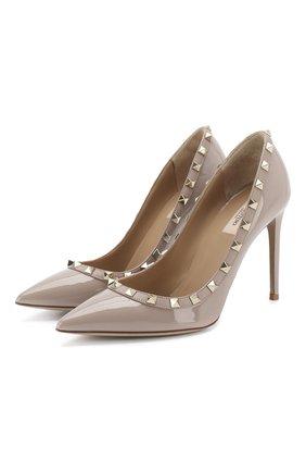 Женская лаковые туфли valentino garavani rockstud VALENTINO бежевого цвета, арт. RW2S0057/VNW | Фото 1