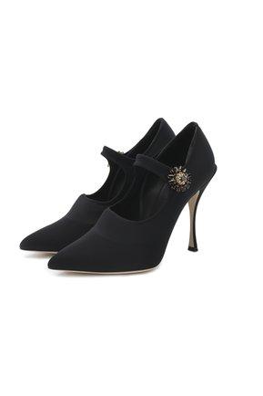Женская текстильные туфли mary jane  DOLCE & GABBANA черного цвета, арт. CD1216/AZ161 | Фото 1