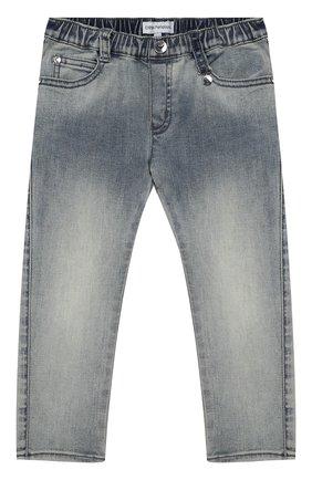 Детские джинсы с декоративными потертостями EMPORIO ARMANI синего цвета, арт. 8NEJ23/3DCDZ | Фото 1
