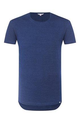 Мужские хлопковая футболка  ORLEBAR BROWN темно-синего цвета, арт. 259580 | Фото 1
