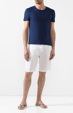 Мужские хлопковая футболка  ORLEBAR BROWN темно-синего цвета, арт. 259580 | Фото 2