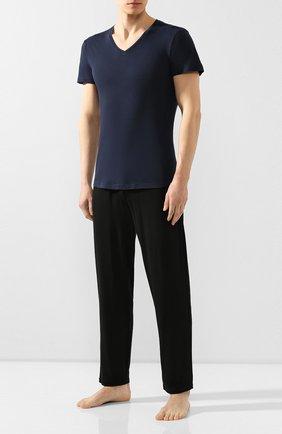 Мужские хлопковая футболка  ORLEBAR BROWN синего цвета, арт. 259648 | Фото 2