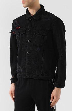 Джинсовая куртка Diesel черная | Фото №3